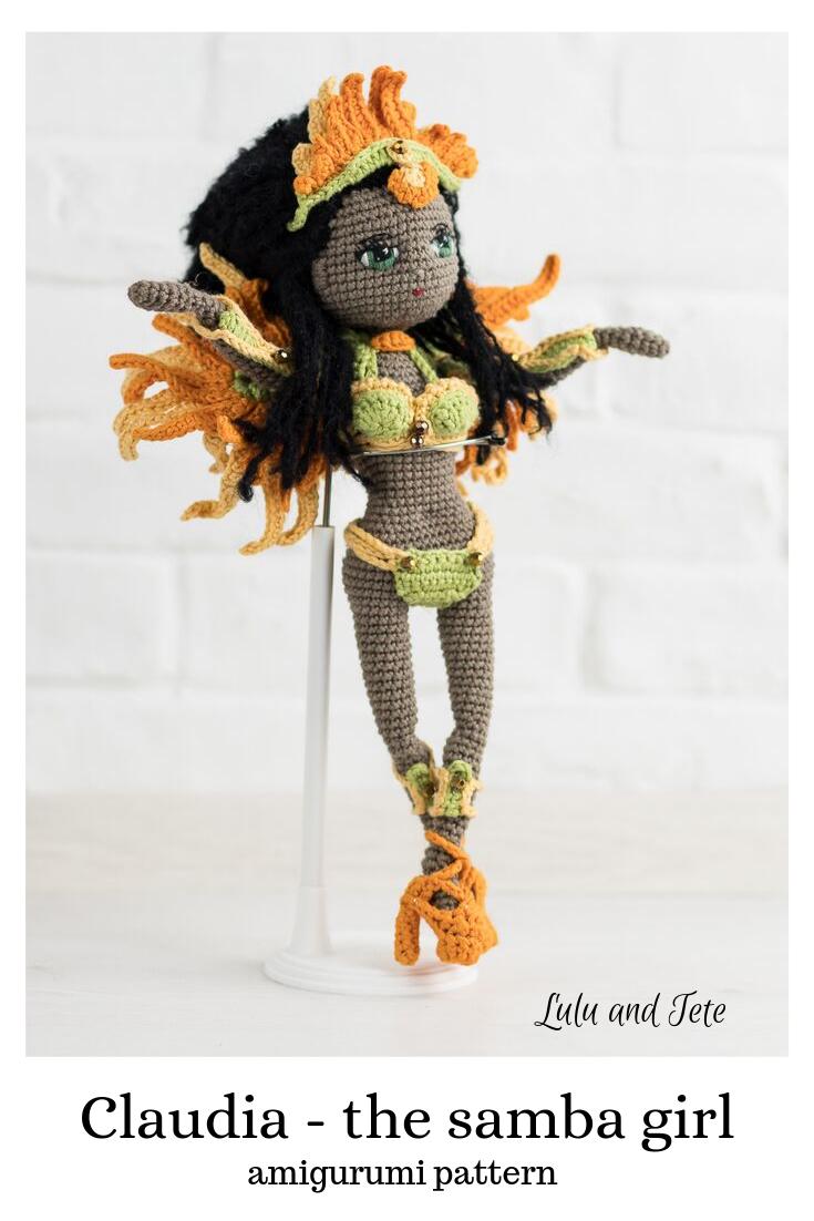 Lala Claudia to wzór na lalę - Brazylijkę - tancerkę samby - na szydełku, dostępny na stronie Lulu and Tete, w technice amigurumi, do wykonania w domu, gotowy do wydruku. Schemat dostępny jest na stronie Luluandtete.com.