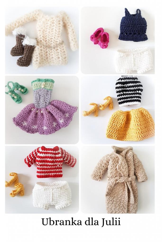 Dodatkowe ubranka dla lal, modne, spódniczka, szorty, strój kąpielowy, pasujące na lale typu Claudia i Julia ze wzorów (schematów) amigurumi Lulu and Tete
