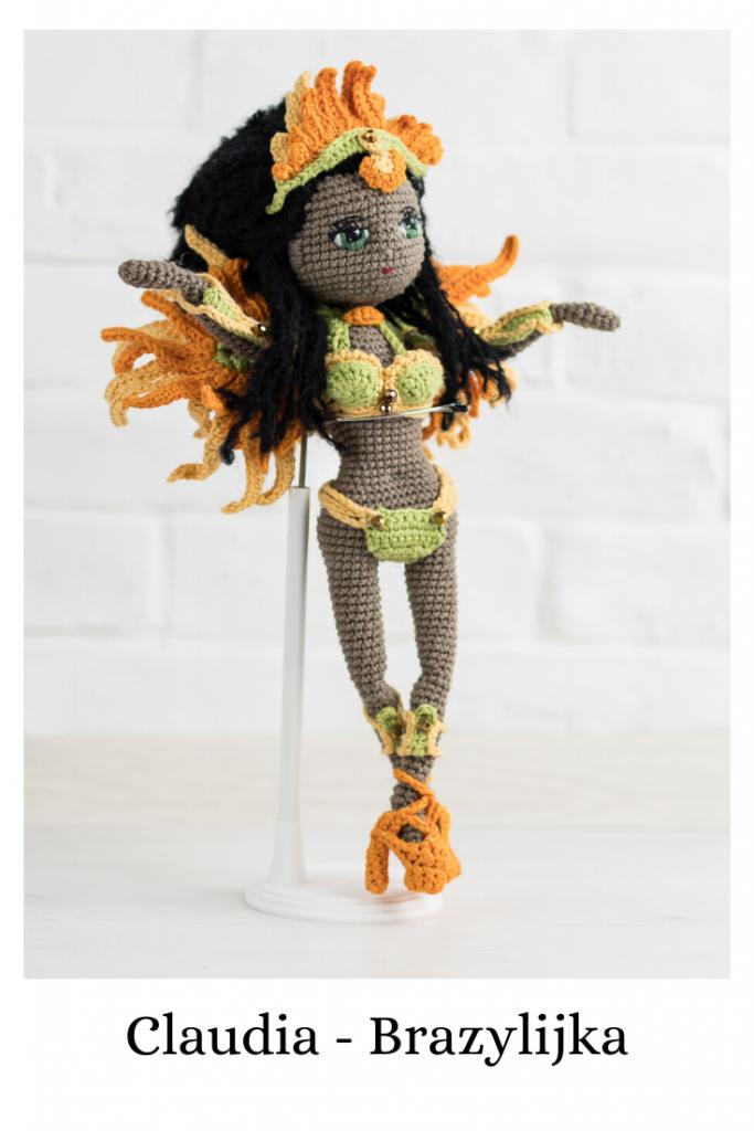 Lala Claudia to wzór na lalę na szydełku, dostępny na stronie Lulu and Tete, w technice amigurumi, do wykonania w domu, schemat autorstwa Lulu and Tete