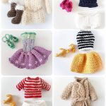 Ubranka dla lal na szydełku, dla lal Claudia i Julia: płaszczyk, sukienka, szorty, bluzka, szpilki, sandały, sweterek