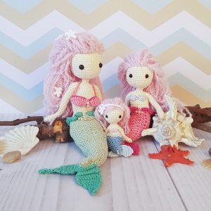 Rodzina syrenek na szydełku: mama syrenka oraz córeczki syrenki - lale DIY