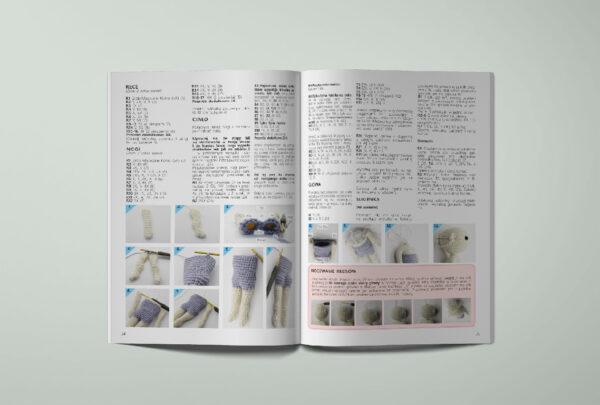 Książka ze wzorami na szydełko, po polsku, pokazująca jak zrobić lalę na szydełku krok po kroku