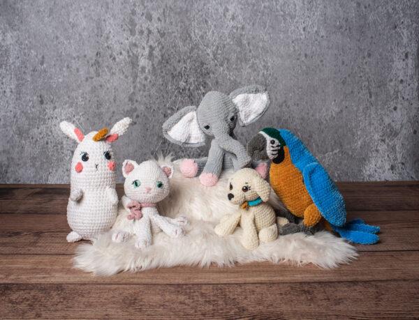 Słonik, Papuga Ara, Piesek, Kotek i Króliczek na szydedłku - z książki Szydełkowe Maskotki - 18 projektów amigurumi